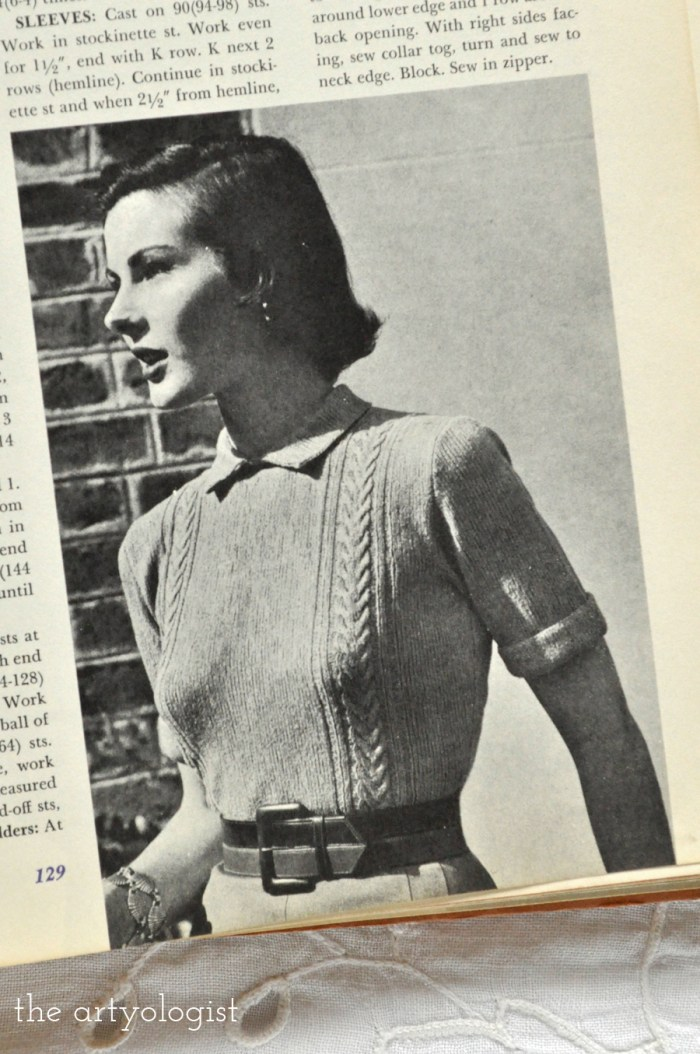 lady wearing a vintage sweater with a collar