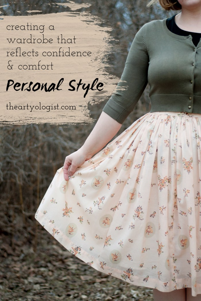 a woman wearing a khaki green sweater and a peach floral skirt with a collage about confidence in your clothing