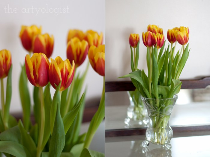 bouquet of bright orange and yellow tulips
