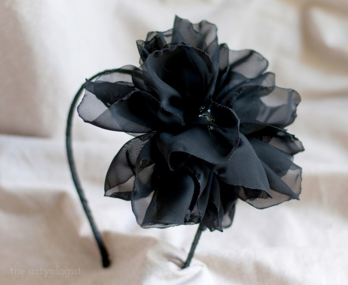 organza flower headband