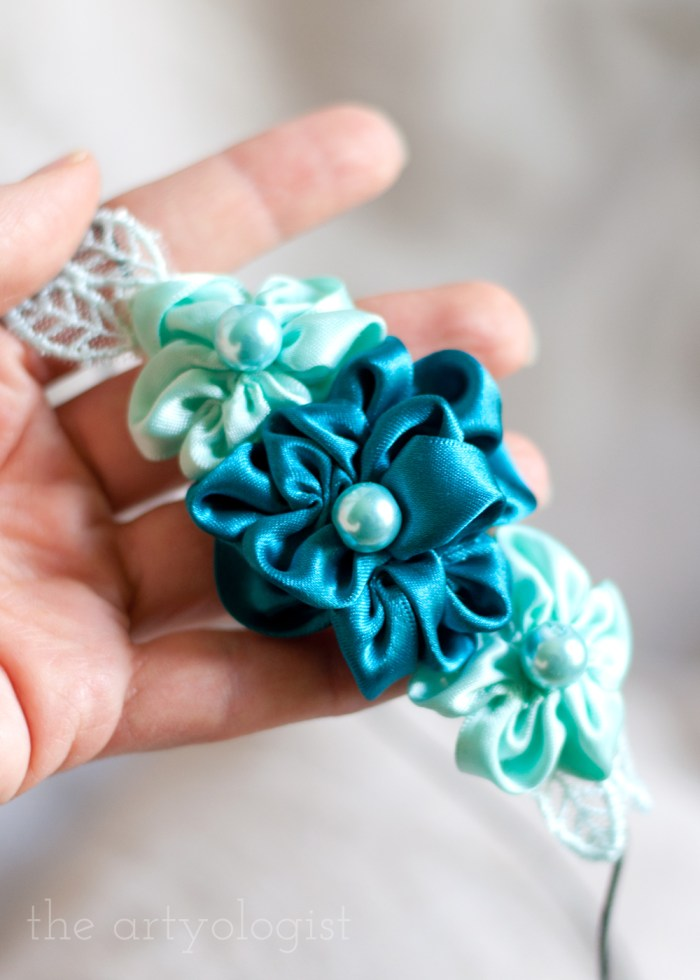 turquoise and mint ribbon flower headband with pearls