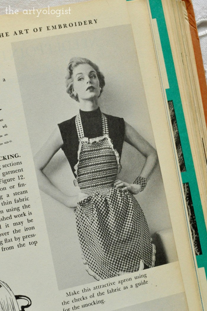vintage lady wearing a homemade hostess apron