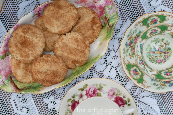 snickerdoodle cookies on a fancy plate