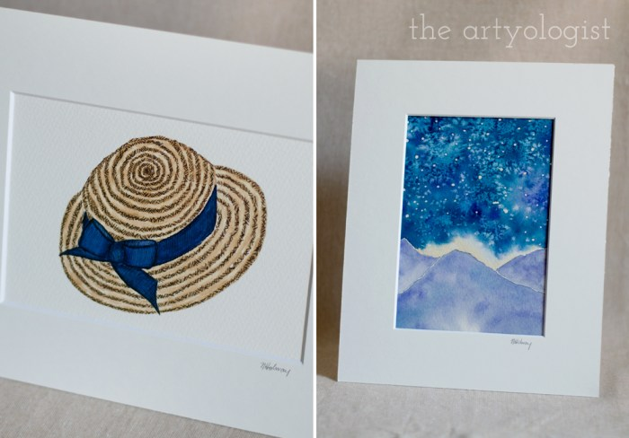 straw hat and mountains original paintings