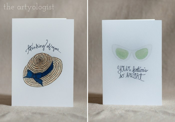 hat and sunglasses cards