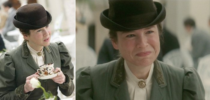 miss potter in london wearing a jacket with contrast cuffs and collar and a bowler hat