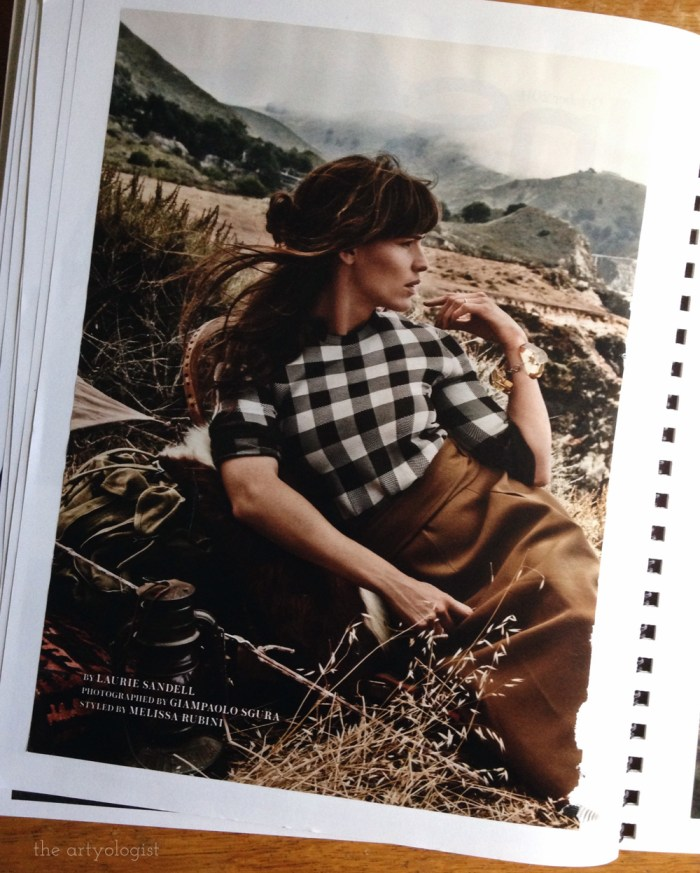 checked blouse and wool skirt in a grassy field