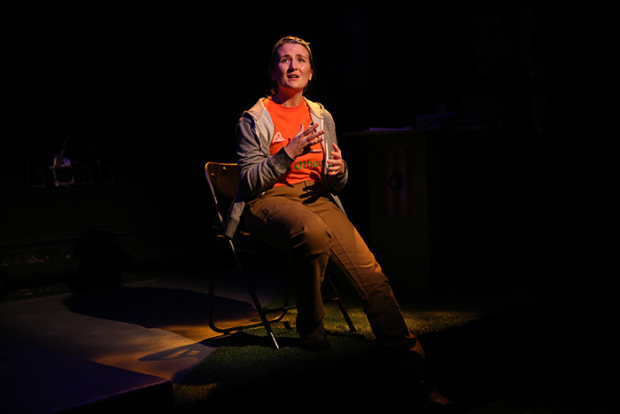 Labhaoise Magee as the title character in Abbie Spallen's Pumpgirl, directed by Nicola Murphy, at the Irish Repertory Theatre.