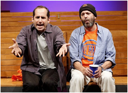 "Peter Jacobson and Geoffrey Cantor in a scene from Warren Leight's ""Sec. 310, Row D, Seats 5 and 6"" (Photo credit: Carol Rosegg)"