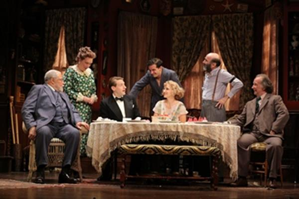"James Earl Jones, Kristine Nielsen, Fran Kranz, Will Brill, Annaleigh Ashford, Patrick Kerr and Mark Linn-Baker in a scene from ""You Can't Take It with You"" (Photo credit: Joan Marcus)"