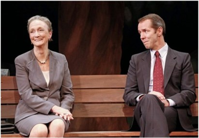 """Kathleen Chalfant and Paul Niebanck in a scene from Lee Blessing's """"A Walk in the Woods"""" (Photo credit: Carol Rosegg)"""