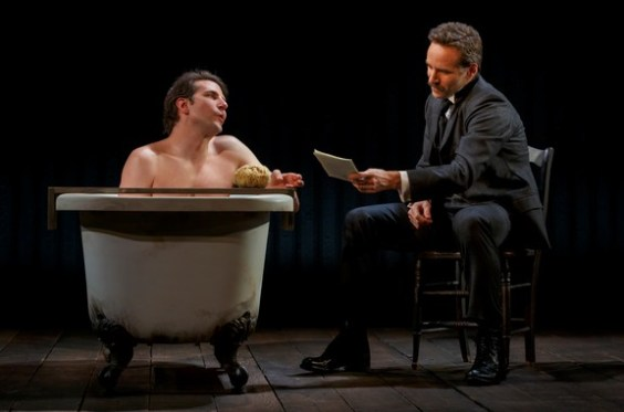 "Bradley Cooper and Alessandro Nivola in a scene from ""The Elephant Man"" (Photo credit: Joan Marcus)"