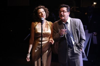 "Cyrille Aimée and Evan Pappas in a scene from ""Cafe Society Swing"" (Photo credit: Carol Rosegg)"