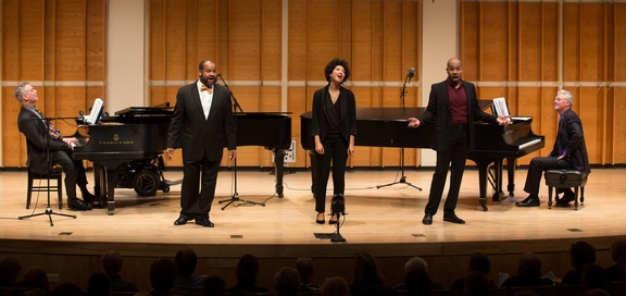 "Steven Blier, James Martin, Julia Bullock, Darius De Haas and Michael Barrett as they appeared in New York Festival of Song's ""Harlem Renaissance"" concert (December 9, 2014) (Photo credit: Matthew Murphy)"