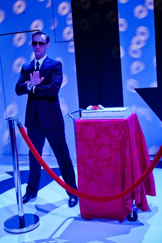"""Danny Gardner in a scene from """"Everybody Gets Cake!"""" (Photo credit: Jim R Moore/Vaudevisuals)"""