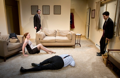 "Jessica Kitchens, Christian Ryan, Dick Hughes (on floor) and Anthony Michael Irizarry in a scene from New Light Theater Project's production of ""No One Loves Us Here"" (Photo credit: Hunter Canning)"