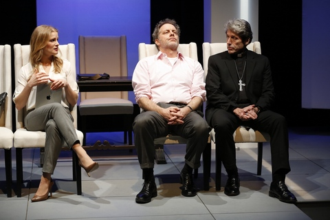 "Larisa Polonsky, Rufus Collins and Joris Stuyck in a scene from ""The Road to Damascus"" (Photo credit: Carol Rosegg)"