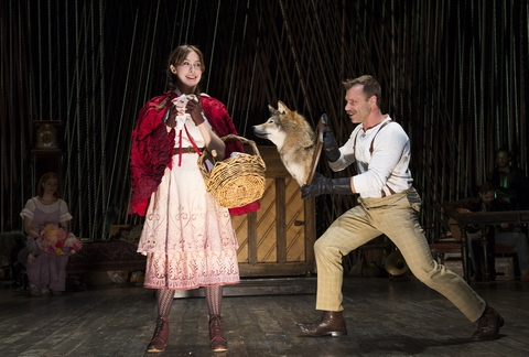 "Emily Young and Noah Brody in a scene from Fiasco Theater's ""Into the Woods"" (Photo credit: Joan Marcus)"