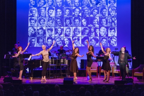"Erin Maguire, Cady Huffman, Andréa Burns, Zakiya Young, Nancy Anderson and Charles Busch as they appeared in the finale of ""Here's to The Girls! Hollywood's Leading Ladies"" (Photo credit: Richard Termine)"