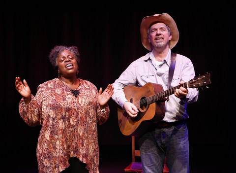 "Lillias White and Scott Wakefield in a scene on the stage of the Maison des Cultures du Monde from ""Texas in Paris"" (Photo credit: Carol Rosegg)"