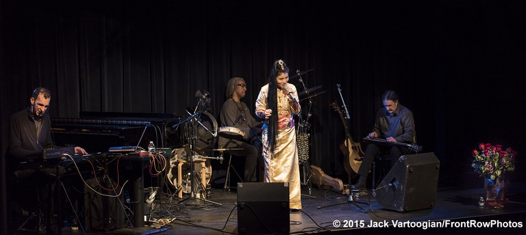 Jamshied Sharifi (keyboard), Bashiri Johnson (percussion), Yungchen Lhamo on mike and Bob Bottjer (guitar) as they appeared at the Leonard Nimoy Theater on January 28, 2015 (Photo credit: Jack Vartoogian/Front Row Pictures)