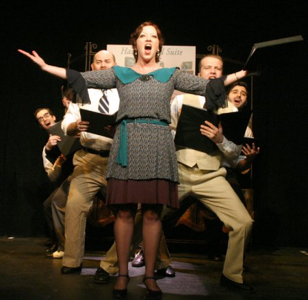 Brandon Timmons, Bradlee Laight, William Mulligan, Annie Edgerton, Alan Gillespie and Warren Curtis in a scene from Musical Tonight!'s revival of Hazel Flagg (Photo credit: Michael Portantiere)