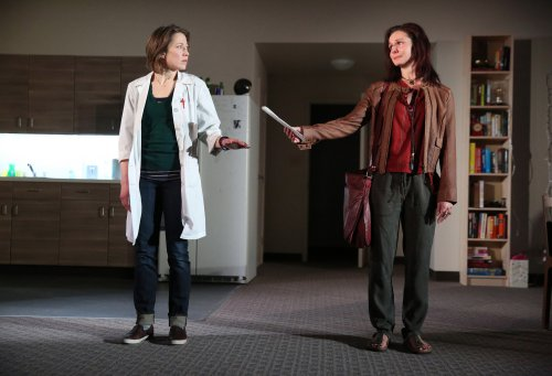 """Florencia Lozano and Carrie Coon in a scene from """"Placebo"""" (Photo credit: Joan Marcus)"""