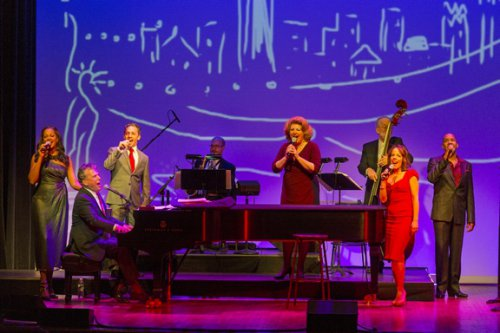 "La Tonya Hall, Billy Stritch, Jeffrey Schecter, Klea Blackhurst, Leslie Kritzer and Darius de Haas as they appeared in ""New York: Songs of the City"" (Photo credit: Richard Termine)"