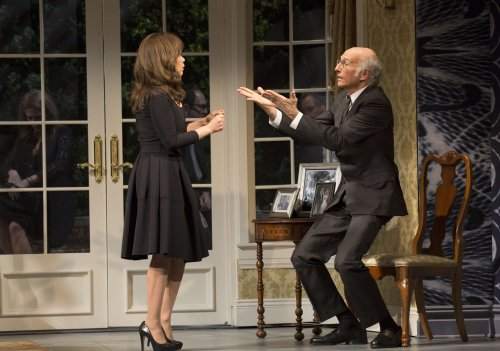 "Rosie Perez and Larry David in a scene from ""Fish in the Dark"" (Photo credit: Joan Marcus)"