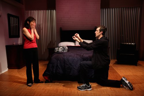 "Pearl Sun and Bryce Ryness in a scene from ""Long Story Short"" (Photo credit: Michael Murphy)"