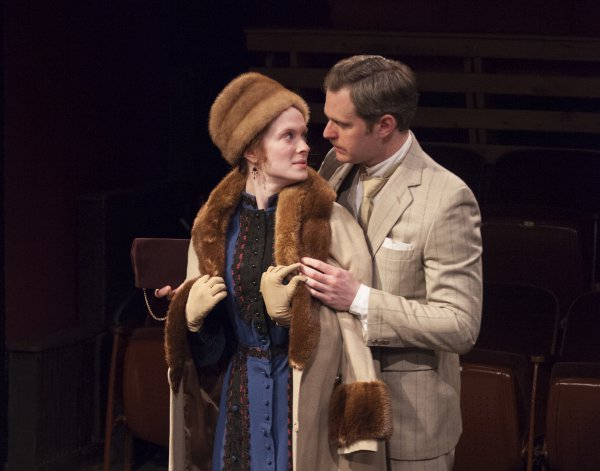 "Kathleen Littlefield and Eric Loscheider in a scene from ""The Man of the Hour"" at Metropolitan Playhouse (Photo credit: Tahiat Mahboob)"