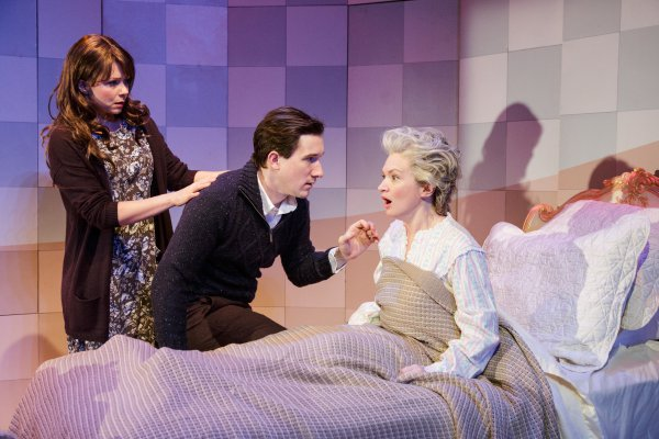 "Liv Rooth, Carson Elrod and Kelly Hutchinson in a scene from David Ives' ""Life Signs"" (Photo credit: James Leynse)"