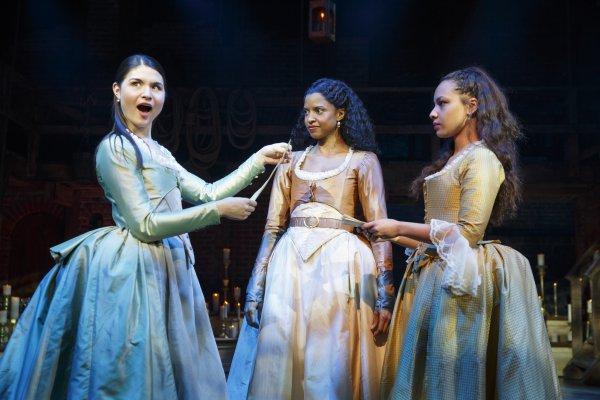 "Phillipa Soo, Renée Elise Goldsberry and Jasmine Cephas Jones in a scene from ""Hamilton"" (Photo credit: Joan Marcus)"