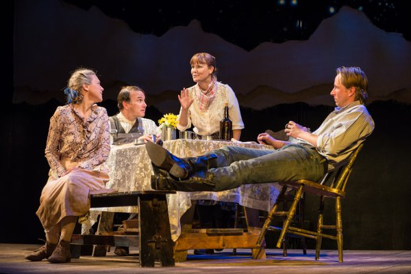 """Tracy Middendorf, Ted Koch, Kelly McAndrew and Todd Lawson in a scene from Beth Henley's """"Abundance"""" (Photo credit: Marielle Solan Photography)"""