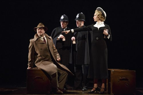 """Robert Petkoff, Arnie Burton, Billy Carter and Britany Vicars in a scene from 30 Steps"""" (Photo credit: Joan Marcus)"""