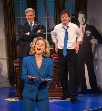 """Hilary (Kerry Butler) with her two loves, WJ (Tom Galantich and Billy (Duke Lafoon), in a scene from """"Clinton the Musical"""" (Photo credit: Russ Rowland)"""