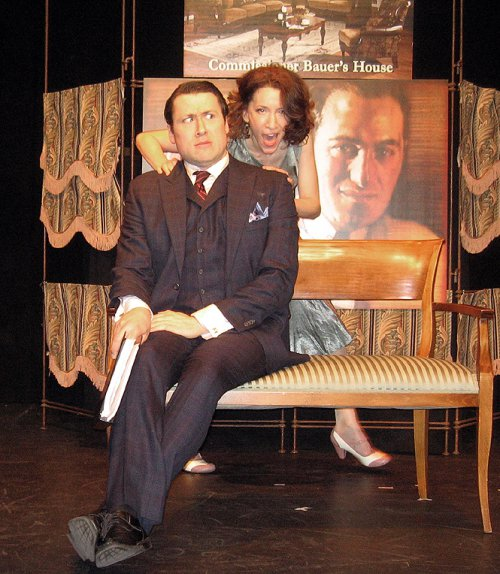 """Colin Ryan and Amie Bermowitz in a scene from The Gershwins' """"Pardon My English"""" (Photo credit: Michael Portantiere)"""