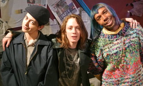 "Lillian Rodriquez as Jonas Mekas, Tammy McNeill as Jimmy Webb and Jason Brown as Jeanise Aviles as they appear in ""The Indelible,"" part of Metropolitan Playhouse's 11th Annual East Side Stories"
