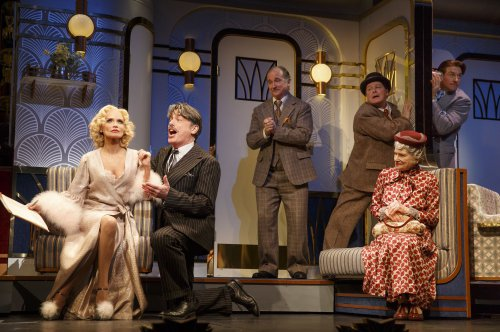 "Kristin Chenoweth, Peter Gallagher, Mark Linn Baker, Michael McGrath, Mary Louise Wilson and Andy Karl in a scene from ""On the Twentieth Century (Photo credit: Joan Marcus)"
