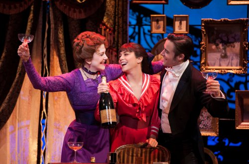 "Victoria Clark, Vanessa Hudgens and Corey Cott as they celebrate ""The Night They Invented Champagne"" in the new Broadway musical ""Gigi"" (Photo credit: Margot Schulman)"