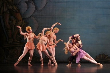 "Kristi Torngo, Eran Bugge, Heather McGinley, Jamie Rae Walker and Robert Kleinendorf in a scene from Paul Taylor's ""Troilus and Cressida"" (Photo credit: Paul B. Goode)"