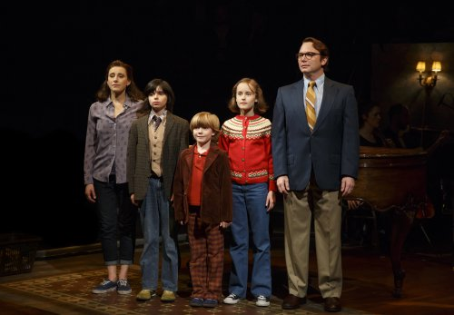 "Judy Kuhn, Oscar Williams, Zell Steele Morrow, Sidney Lucas and Michael Cerveris as the Bechdel family in a scene from ""Fun Home"" (Photo credit: Joan Marcus)"