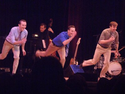 """Brent McBeth, Danny Gardner and Drew Humphrey as they performed """"Nice Work If You Can Get It"""" from """"My One and Only"""" (Photo credit: Maryann Lopinto)"""