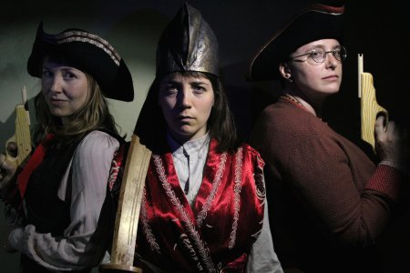 "Meghan Maureen Williams, Emily Hartford and Gretchen Van Lente in a scene from ""Blood Red Roses: The Female Pirate Project"" (Photo credit: Jonathan Musser)"