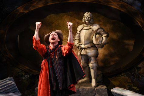 "Brad Heberlee as Sganarelle and Chris Mixon as the Statue in a scene from the Pearl Theatre Company's revival of Moliere's ""Don Juan"" (Photo credit: Russ Rowland)"