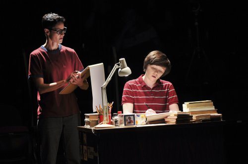 "Beth Malone as Adult Alison and Emily Skeggs as Middle Alison in a scene from ""Fun Home"" (Photo credit: Jenny Anderson)"