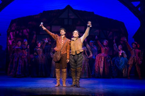 """John Cariani and Brian d'Arcy James a Nick and Nigel Bottom in a scene from """"Something Rotten!""""(Photo credit: Joan Marcus)"""