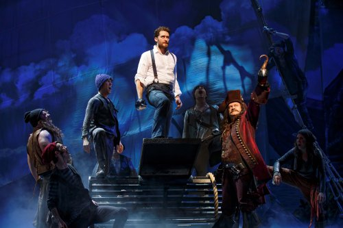 "Matthew Morrison (center) and Kelsey Grammer (Captain Hook, front right) with the ensemble of ""Finding Neverland"" (Photo credit: Carol Rosegg)"