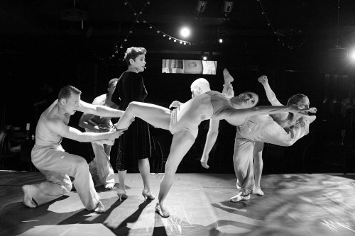 """Christine Andreas and RIOULT Dance NY in a scene from """"Street Singer: Celebrating the Life of Edith Piaf"""" (Photo credit: Paul B. Goode)"""