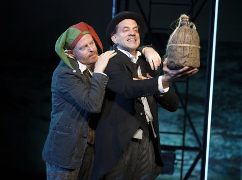 "Jesse Tyler Ferguson as Trinculo and Danny Mastrogiorgio as Stephano in a scene from ""The Tempest"" at the Delacorte Theater (Photo credit: Joan Marcus)"